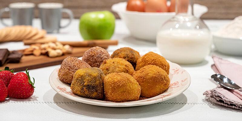 Croquetas de manzana, canela y avellanas, croquetas de chocolate y galleta maría, croquetas de cheescake